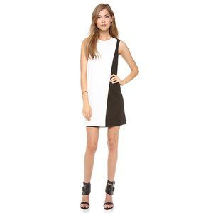 Theory • Contrast Sheath Dress in Black and White